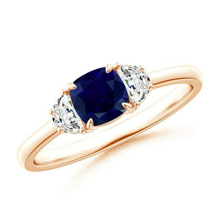 September Birthstone Ring - Cushion Blue Sapphire and Diamond Three Stone Ring in 14K Rose Gold (5mm Blue Sapphire) - SR1215SD-RG-AA-5-12.5