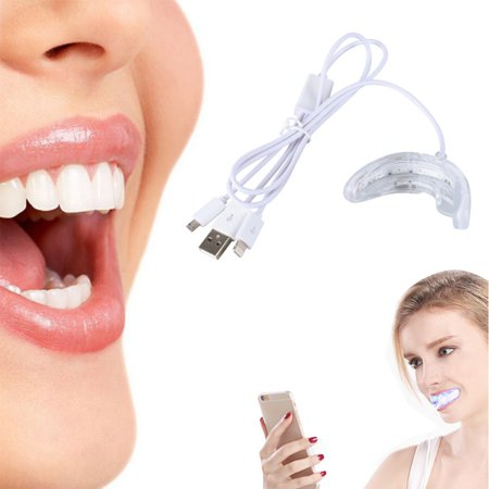 Teeth Whitening Light Tray Kit - 4-in-1 Adapter for iPhone, Android, USB-C & USB - DIY at Home with Professional Results - Use With Teeth Whitener Gel/Whitening Strips](Werewolf Teeth For Sale)