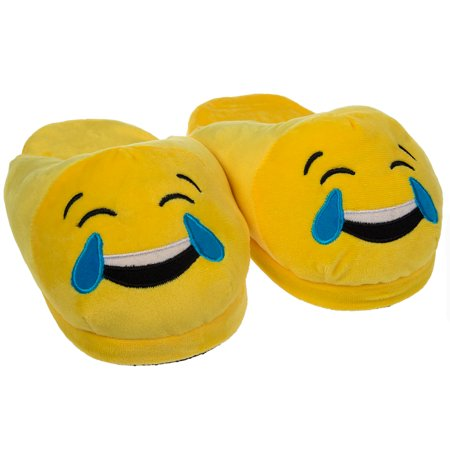 ad9665935cd Royal Deluxe - Emoji House Slippers Funny Soft Plush For Adults Kids Teens  Bedroom Smiley Comfy Socks Womens Girls - Walmart.com