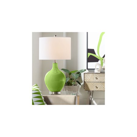 Gecko Wall Lamp - Color Plus Modern Table Lamp Gecko Green Glass Ovo White Linen Drum Shade for Living Room Family Bedroom Bedside Nightstand Office