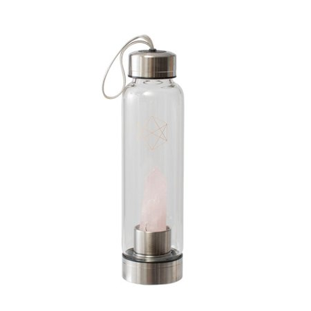 Lifestyle Products Glass Water Bottle, Natural Rose Quartz Crystals and Gem Stones,  Includes Protective Neoprene Sleeve ()