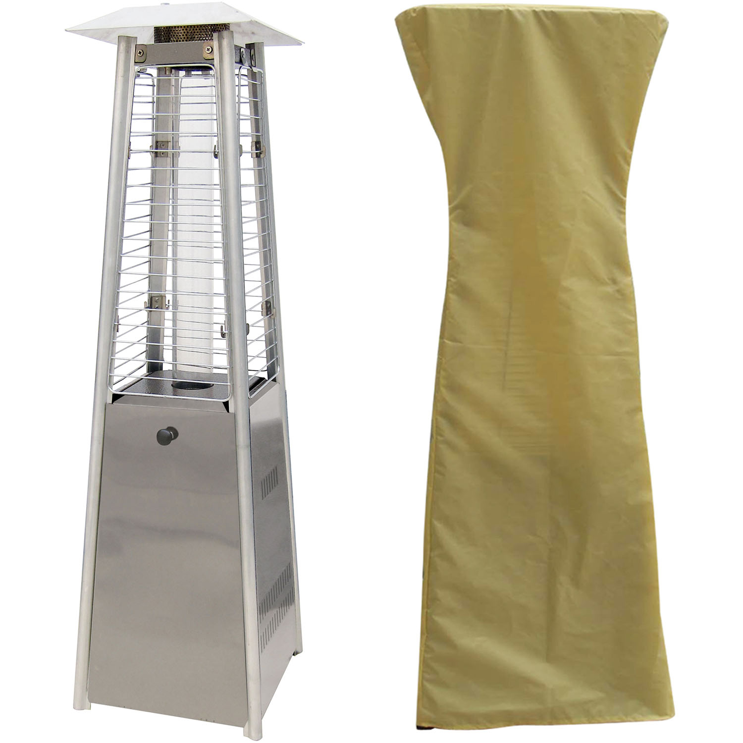 Hanover Mini Pyramid Tabletop Propane Patio Heater in Stainless Steel with Weather-Protective Cover