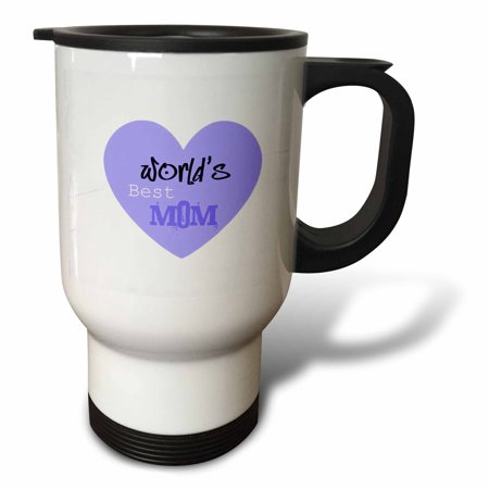 3dRose Worlds Best Mom Purple Heart Mothers Day, Travel Mug, 14oz, Stainless - Diy Travel Mug