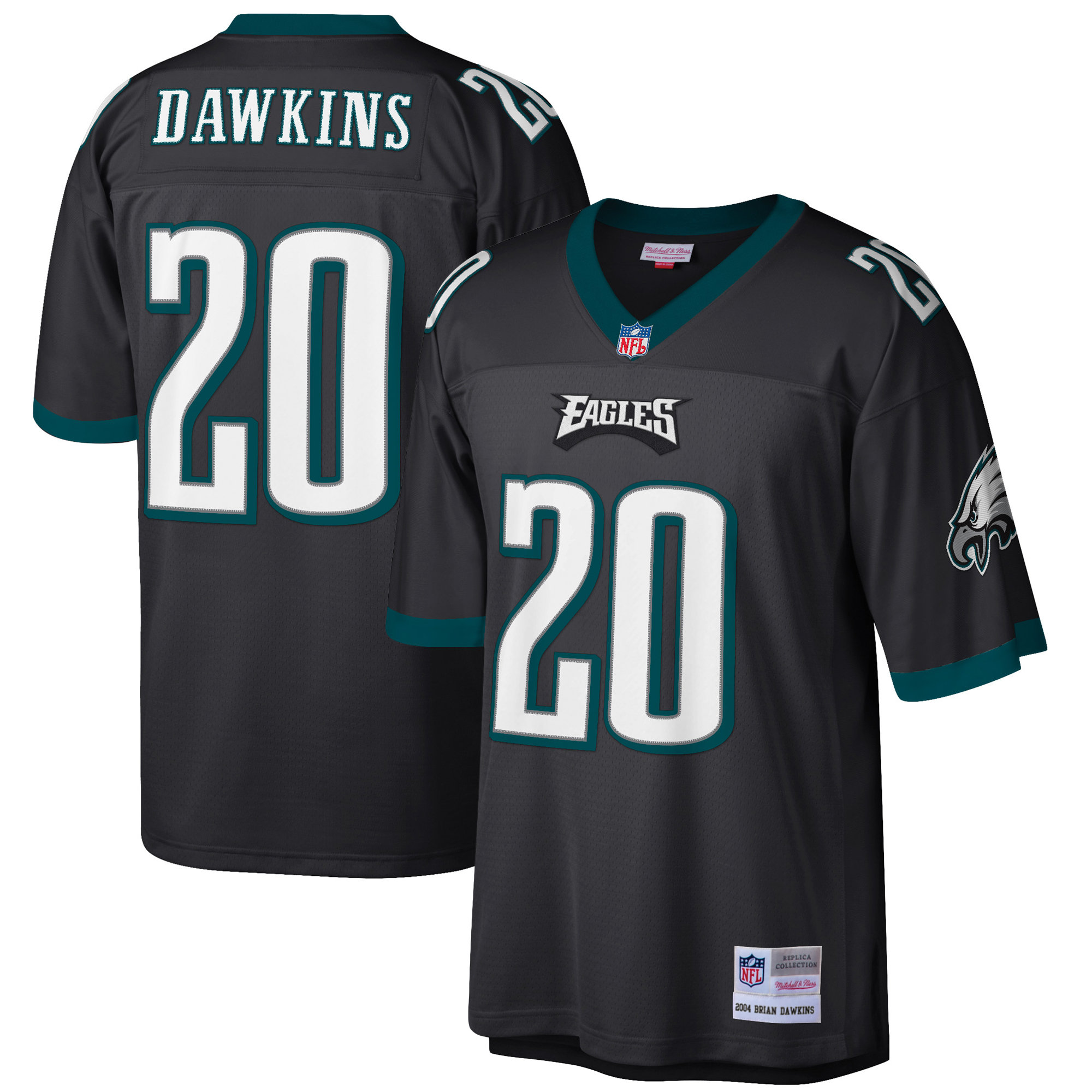 sports shoes 29db9 f93e6 Brian Dawkins Philadelphia Eagles Mitchell & Ness Retired Player Replica  Jersey - Black
