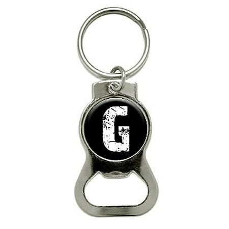 g letter black white distressed round bottle opener keychain. Black Bedroom Furniture Sets. Home Design Ideas