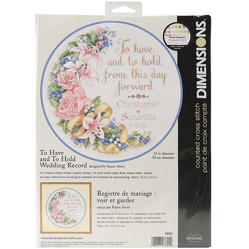 "To Have And To Hold Wedding Record-Counted Cross Stitch Kit, 12"" Round 14-Count"