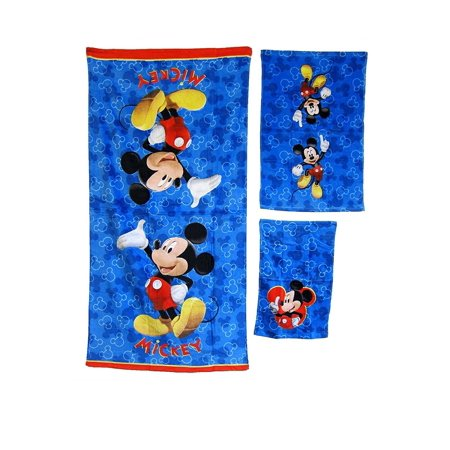 3 Pieces Disney Pixar MICKEY MOUSE 100% Cotton Bath, Hand, and Fingertip Towel Set