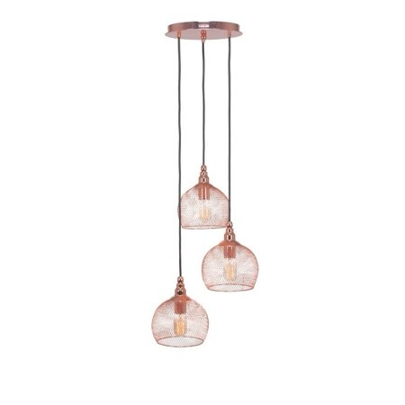 Toltec Lighting Toltec 3 Light Plexus Pendant Shown In Copper Finish with Metal Shade and Antique Bulb