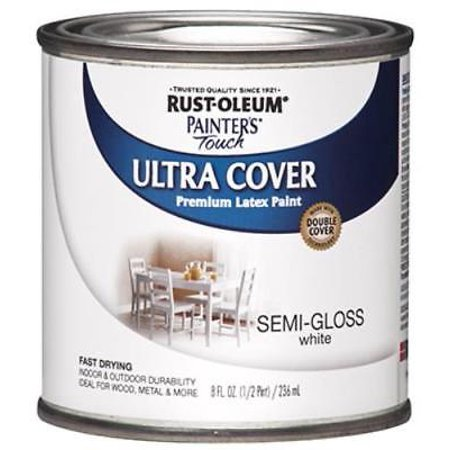 - Painter's Touch Ultra Cover 1/2 PT White Semi-Gloss Latex Paint Fast D 2PK
