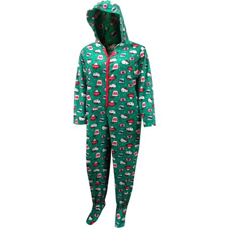 Hello Kitty Christmas Cheer Fleece Footie Onesie Hooded Pajama (Hello Kitty For Adults)