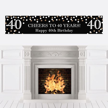 Adult 40th Birthday - Gold - Birthday Party Decorations Party Banner