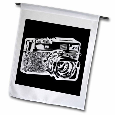 3dRose Picture of a White Rangefinder Camera on black background - Garden Flag, 12 by 18-inch ()