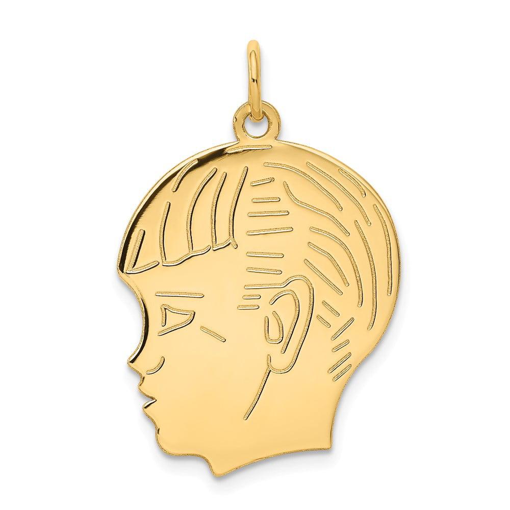 14k Yellow Gold Engravable Boy Head Charm Pendant