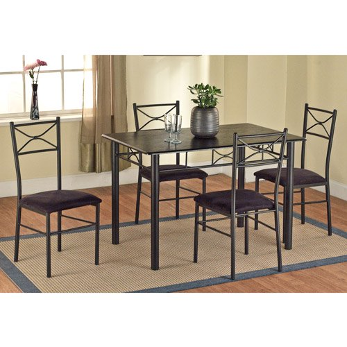 Black Dining Room Sets For Cheap: 5-Piece Metal Dining Set, Black