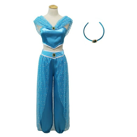 KINOMOTO Aladdin Jasmine Princess Dress Up Girls Adventure Outfit Women Cosplay Costume Skirt Set with Head Band (S) - Princess Jasmine Inspired Outfit
