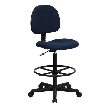 """42.75"""" Navy Blue and Black Patterned Fabric Drafting Chair with Mid-Back Design"""