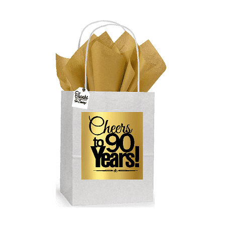 90th Cheers Birthday / Anniversary White and Gold Themed Small Party Favor Gift Bags Stickers Tags -12pack