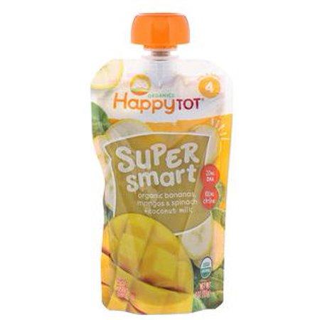 Nurture Inc. (Happy Baby), Happy Tot, Stage 4, Super Smart, Fruit and Veggie Blend, Organic Bananas, Mangos & Spinach, Coconut Milk, 4 oz (pack of (Blended Mango Fruit)