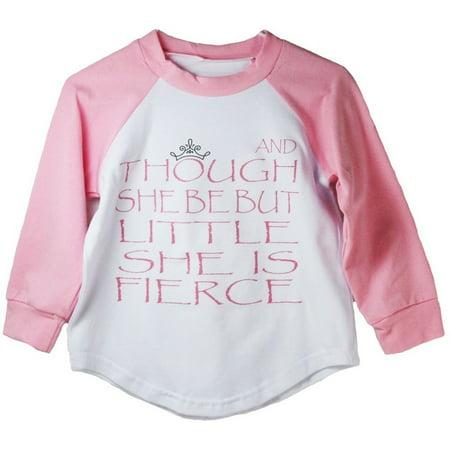 Girls Pink Shakespeare Quote Print Cotton Spandex Raglan (Pink Rayban)