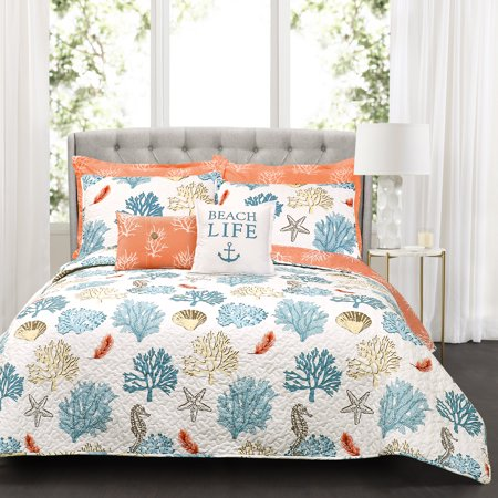 Coastal Reef Feather Quilt Blue/Coral 7Pc Set King