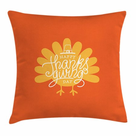 Turkey Throw Pillow Cushion Cover, Thanksgiving Day Theme with Poultry Silhouette Autumn Season November, Decorative Square Accent Pillow Case, 18 X 18 Inches, Orange Mustard White, by Ambesonne - Thanksgiving Theme