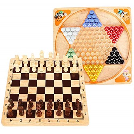 Lewo 2 in 1 Wooden Chess Set Chinese Checkers Board Table Games for Kids Adults Family - image 2 of 2