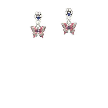 Small Butterfly Earrings - Small Hot Pink & Purple Butterfly - Blue Crystal Paw Earrings