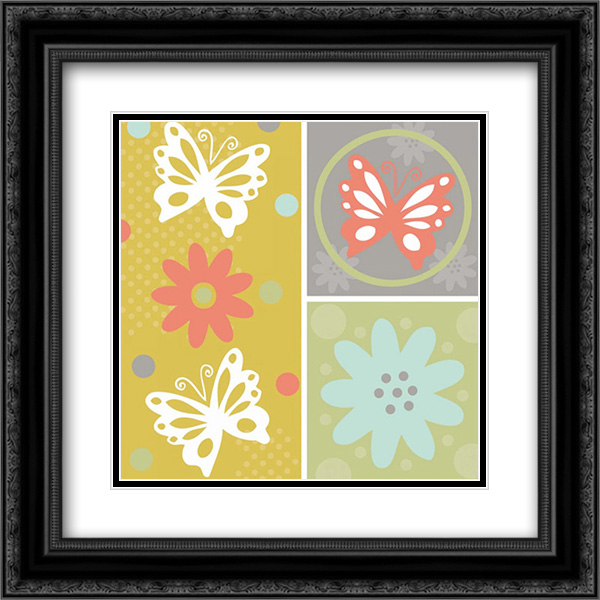 Butterflies and Blooms Tranquil XI 2x Matted 20x20 Black Ornate Framed Art Print by ND Art and Design