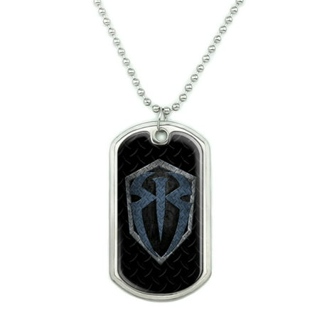 WWE Roman Reigns Steel Military Dog Tag Pendant Necklace with Chain