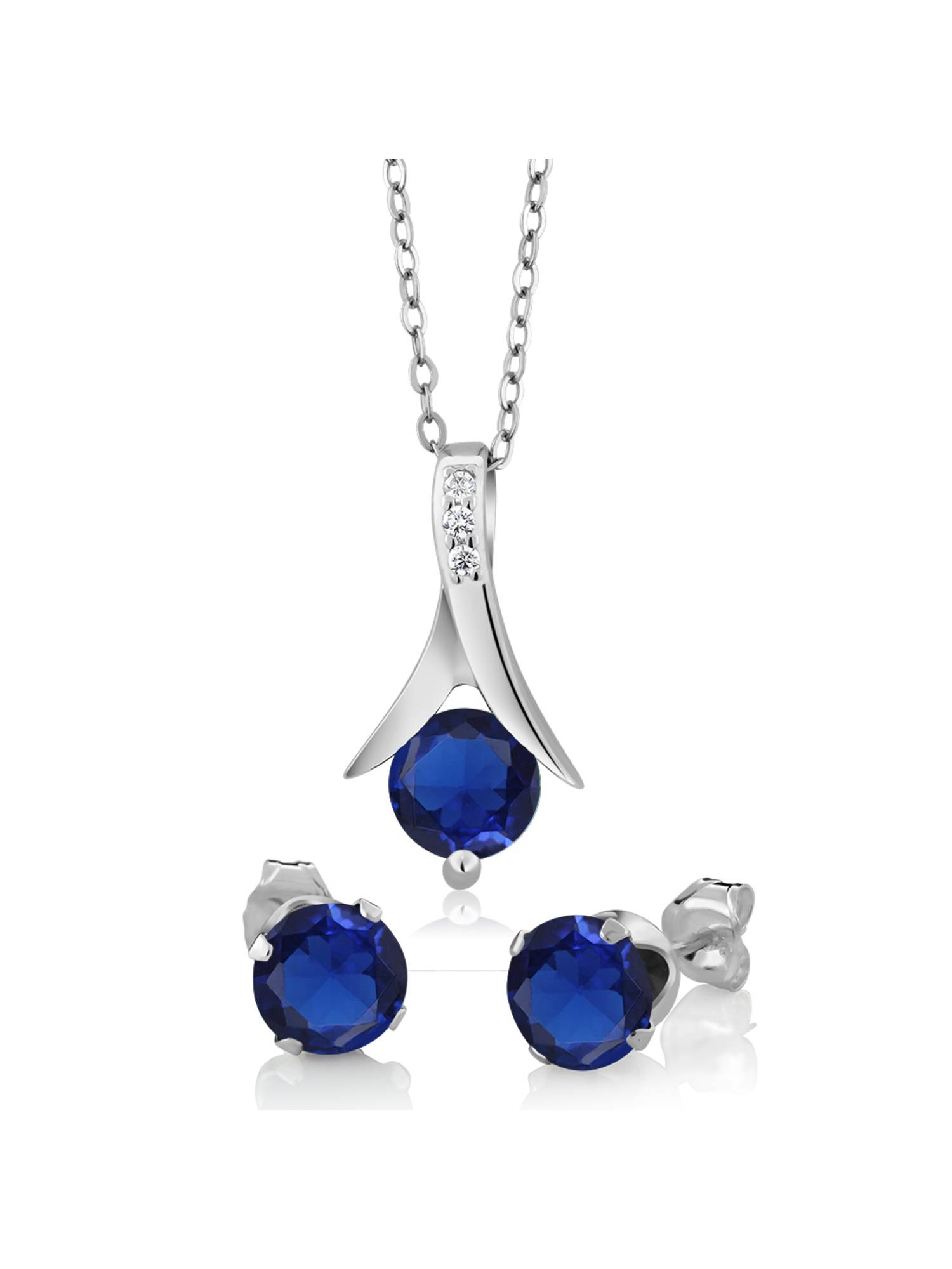 "2.40 Ct Round Simulated Sapphire 925 Silver Pendant and Earrings Set 18"" Chain"