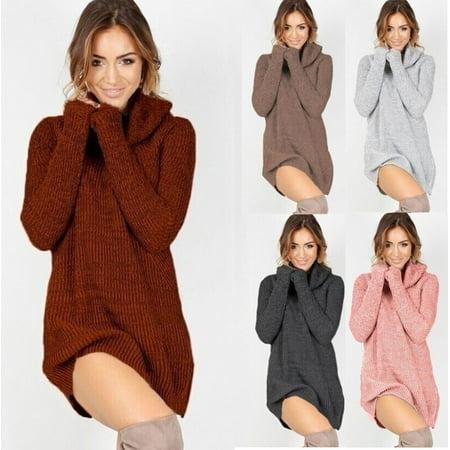 2018 New Fashion Womens Cowl Neck Loose Long Sleeve Oversize Sweater Jumper Shirt Tops Dress