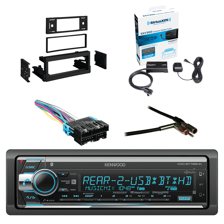 Kenwood Single Din CD/AM/FM Car Audio Receiver W/Bluetooth with SiriusXM Satellite Radio Vehicle Tuner Kit, Metra Dash Kit For GM Truck And Van 95-05, Metra Radio Wiring Harness, Metra Antenna Adapter