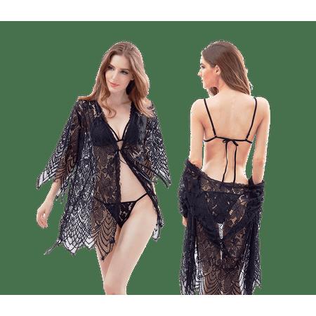 ae067c17381 Alessandra Sexy Women s Lingerie Lace Bra Nightgown G-String 3 Piece Set -  Walmart.com