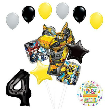 Transformers Mayflower Products Bumblebee 4th Birthday Party Supplies Balloon Bouquet Decorations - Transformer Party Decorations