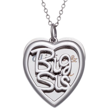 Personalized Sterling Silver Big Sis Heart Pendant