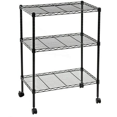 Zimtown 3 Tier Shelf Shelving Adjustable Wire Metal Storage Rolling Rack Chrome/Black
