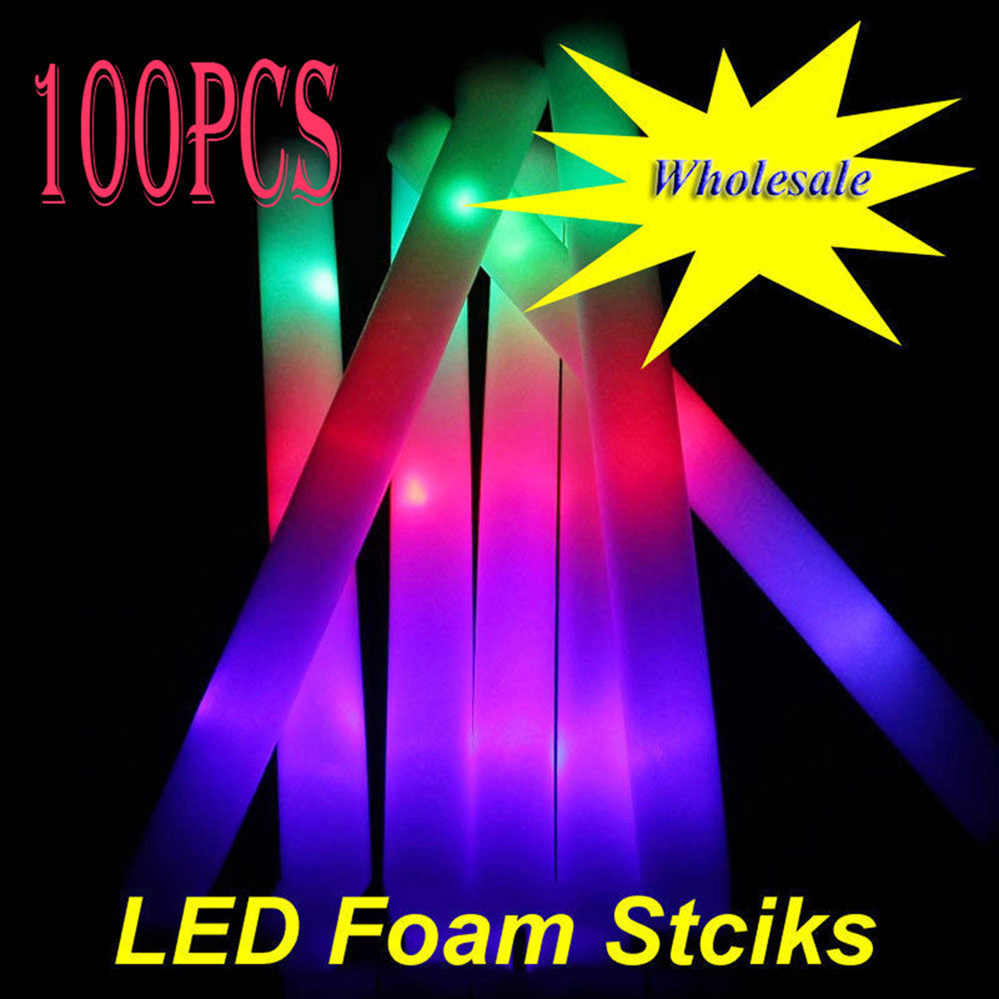 "CASUNG 100 PACK 19"" Neon Light up Foam Batons LED Glow Light Sticks Wands Tubes for Party Supplies,Festivals,Raves,Birthdays,Halloween Party Children Toy Wholesale Bulk"
