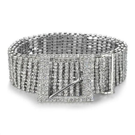 Women Shiny Belt Waist Chain Crystal Diamond Waistband Full Rhinestone Luxury Ladies Waist Charm Belt S 1960's Womens Accessories Belt