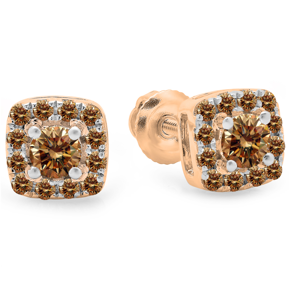 0.50 Carat (ctw) 10K Rose Gold Round Cut Champagne Diamond Ladies Square Frame Halo Stud Earrings 1/2 CT