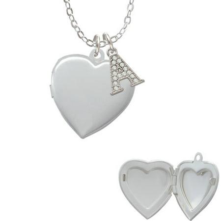 Heart Locket - A - Crystal Initial Sophia Necklace, 18