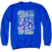 90210/ZIP CODE - ADULT CREWNECK SWEATSHIRT - ROYAL BLUE - LG