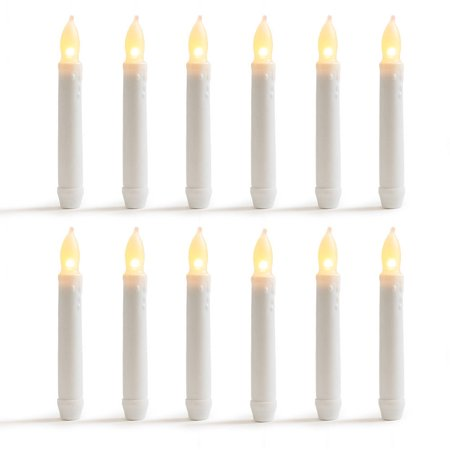 WYZworks Set of 12 Warm White Flameless LED Taper Candles Mini Battery Operated Wax Dipped White Body - Batteries Not Included
