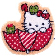 """Vervaco Shaped Rug Latch Hook Kit 21.25""""X22""""-Hello Kitty In The Umbrella"""