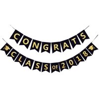 CONGRATS Class of 2018 Party Banner Black And Gold Graduation Decorations Graduation Sign For High School Graduation, College Grad Party Supplies
