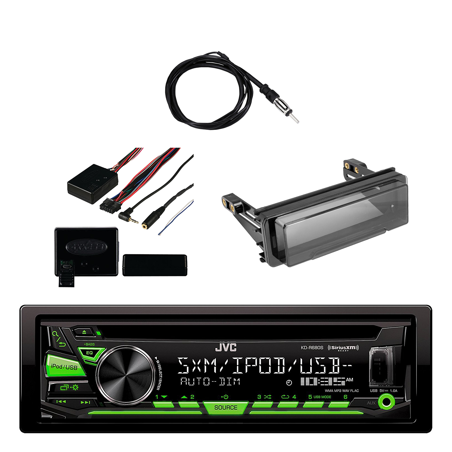 JVC Single DIN In-Dash CD/AM/FM/ Car Stereo Receiver with...