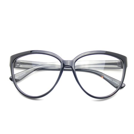 Emblem Eyewear - Womens Oversize Retro Nerd Clear Lens Fashion Cat Eye Geek Glasses - image 1 de 3