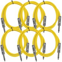 "Seismic Audio  New 6 PACK Yellow 1/4"" TS 2' Patch Cables - Guitar - Instrument Yellow - SASTSX-2Yellow-6PK"