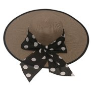 womens Brown Contrast Edge Dot Bow Band Accent Wide Brim Sun Hat