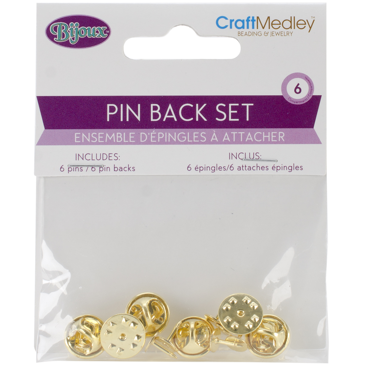 Pin and Pin Back Sets, 6pk, Gold