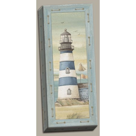 Canvas First Light II Lovely, Retro Lighthouse; Coastal Decor; One 8X20 Hand-Stretched (Two Lights Lighthouse)